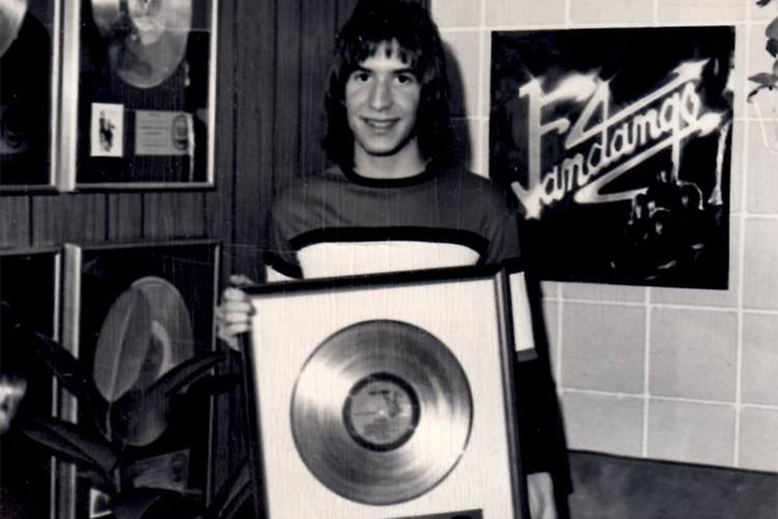 Teenage Larry recording with RCA group Fandango in Los Angeles. Gold album award is for Carly Simon, not Fandango.