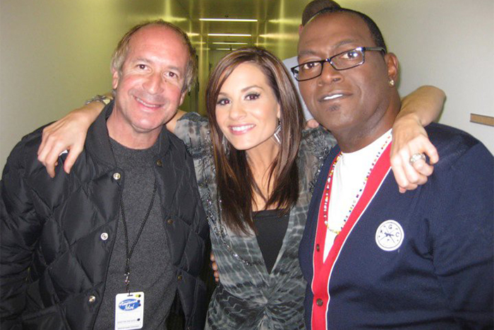 Larry, Kara Dioguardi, Randy Jackson- Backstage at American Idol taping. Hollywood, California.