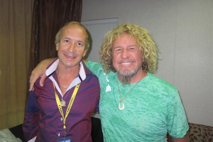 Larry and Sammy Hagar- backstage at Sammy Hagar concert. Harrah's Hotel and Casino Lake Tahoe, California.