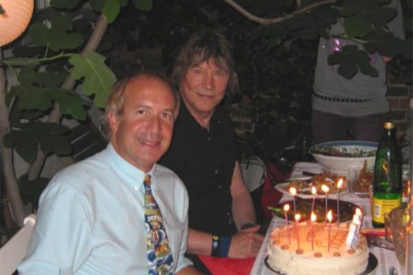 Larry & James Rado, co-author and original cast of the musical HAIR. Larry's birthday party hosted by Susan Malick in New York.