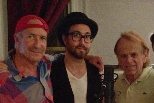"Larry, Sean Lennon, Al Jardine- Larry producing a chorus of ""Give Peace A Chance"" for Bono's ""Agit-8"" project. Larry's living room in New York, NY."